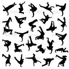 Break Dance Silhouettes  #GraphicRiver         Break Dance silhouettes EPS 8                     Created: 7 December 13