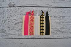 Hot Pink Cheetah and Black Skulls Set of Five No Snag Hair Ties for Women and Girls