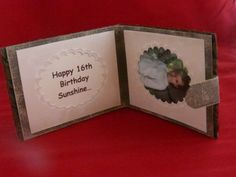 Inside of wallet card with photo and message area - the top is open for inserting paper money!