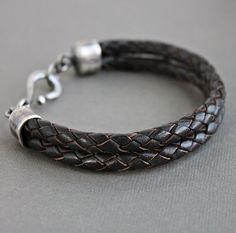 Men's Double Braid, Espresso Brown Bracelet
