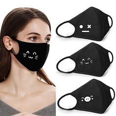 Coolha Cotton Dustproof Mouth Face Mask fashion mask cute masks Women Men Face cover Mouth Masks Home Improvement Easy Face Masks, Best Face Mask, Diy Face Mask, Mouth Mask Fashion, Fashion Face Mask, Mouth Mask Design, Kawaii Faces, Bandana Styles, Pocket Pattern