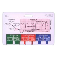 EKG Ruler, Calipers, and Diagram Quick Reference Badge Card, made of durable waterproof plastic, about half the thickness of a credit card, fits all standard ID clips, and is standard badge card size of 2 1/8 by 3 3/8.