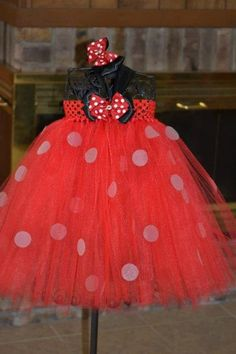 Minnie Mouse Tutu Dress with Matching Bow.   Im in deep with this Minni Mouse crap.