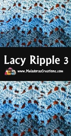 Crochet lace ripple stitch - a variation on a ripple crochet pattern with a more open, lacy look. Crochet Stitches Free, Afghan Crochet Patterns, Crochet Geek, Crochet Crafts, Crochet Projects, Free Crochet, Stitch Patterns, Crochet Humor, Crochet Borders