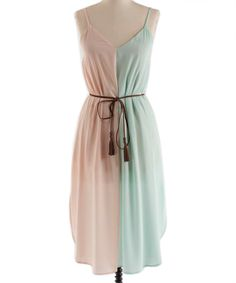 Mint & Peach Sleeveless Dress