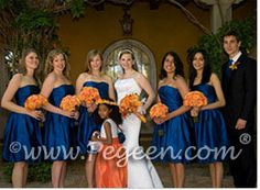 Orange and dark blue wedding