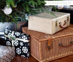 Suitcases under Christmas Tree