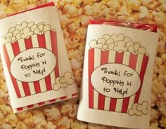 "Volunteer gifts - microwave popcorn with the label ""thanks for popping in to help""  Also packs of Extra gum with label ""thanks for going the extra mile to volunteer"""