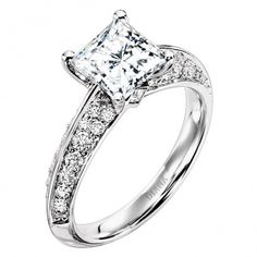 Princess-cut diamond ring in platinum setting from Diana Classic.