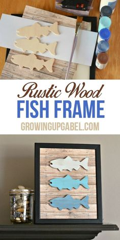 Make this DIY Father's Day Gift Fish Frame fishing craft as a gift for the fisherman in your life! Created using wooden fish and faux wood craft paper and is great for kids to help make.