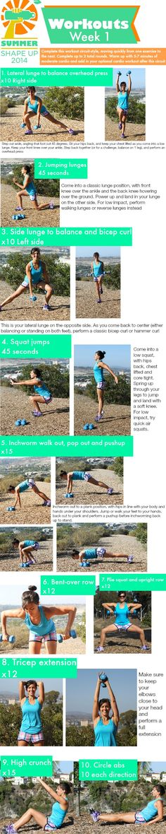 Summer Shape Up 2014 Week 1 Workout! A FREE 4-week fitness program complete with meal plans.  www.fitnessista.com