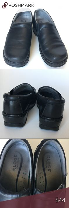 KLOGS Black leather clog, sz 8.5 GUC Top pick by hospital and restaurant staff. Slip-resistant, oil-resistant, non-marking, shock absorbent, orthotic friendly. Microfiber footbed, arch support, superior cushioning and all day comfort. Reduces foot fatigue and heel pain. Footbed is removable, latex-free, antimicrobial, odor-resistant, and lightweight. Our slip resisting outsoles are also non-marking and shock absorbent, making them a great choice for work environments. Leather upper with side…