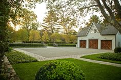 Doyle Herman Design Associates Landscape Design, driveway courtyard, clean lines, barn style garage