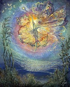 Silken Spells by Josephine Wall  This fairy loves to whirl and pirouette on the finest of cobweb silk, especially when moonbeams reflect their rainbow colours all around her gossamer wings. After her dancing is done, the wind carries her home on a playful breeze. Each miracle of nature's beauty fills her heart with joy.