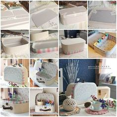 """<input class=""""jpibfi"""" type=""""hidden"""" >Here is a nice DIY project to make a vintage style cosmetic case from cardboard. I really like this super cute idea to decorate it as a suitcase. It looks so lovely and pretty! It is very versatile. If put in&hellip; Kids Crafts, Cardboard Crafts Kids, Diy And Crafts, Paper Crafts, Kids Diy, Cardboard Suitcase, Cardboard Furniture, Diy Karton, Carton Diy"""