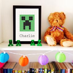 Minecraft Creeper Inspired Print  Childs by TheHappyCotswoldCo