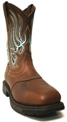 Ariat WorkHog Mesteno Steel Toe Boot - Brown Oiled Rowdy -- For extra luck, your groom should wear a little something blue too! | SouthTexasTack.com