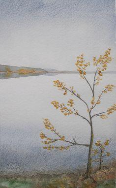 40Suomalainenjärvimaisemasyksyllä II-watercolour+pencil-Anita Isännäinen, Finland