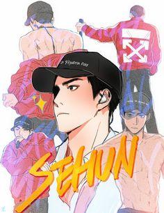 shook Sehun, Kpop Exo, Exo Anime, Anime Galaxy, Exo Fan Art, Kpop Drawings, Kpop Fanart, Boy Art, Pretty Art