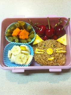 Brown rice tabby cat with cheese ears, flower bananas, green beans, carrot flowers with cherries