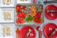 Great birthday party idea: Japan theme with make your own candy sushi and ninja headbands.
