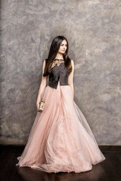 Shyamal & Bhumika pink flowing gown for an Indian wedding:
