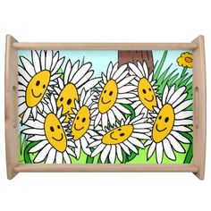 whimsical meadow flowers serving tray serving platter