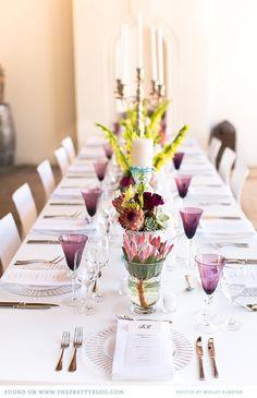 Intimate, colourful wedding celebration in Stellenbosch Wedding Table Deco, Wedding Table Flowers, Wedding Table Settings, Wedding Colors, Wedding Bouquets, Flower Decorations, Wedding Decorations, Table Decorations, Purple Table