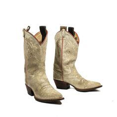 Women Justin Cowboy Boots Distressed White Vintage Collection Size 6 1 2 B | eBay