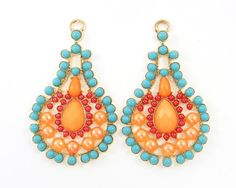 Pair of Aqua Orange Red Boho Teardrop Earring Findings Turquoise Peach Gold Chandelier Earring Components |O6-11|2