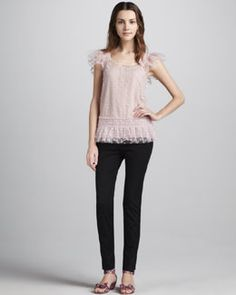 -416D RED Valentino Flutter-Sleeve Swiss Dot Tulle Top & Slim Cropped Gabardine Pants