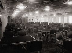 the main dining room, the titanic, 1912, dining room of the titanic