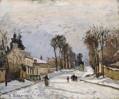 In 1869 Pissarro settled in Louveciennes and would often paint the road to Versailles in various seasons. via Artiste Peintre FB