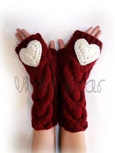 Heart Knitted Cabled Fingerless Gloves. 44 Colors. by VividBear