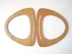 Vintage Wooden Purse Handles - DIY Macrame Supply - Pair of Carpet Bag Handles - Wood Bag Handles