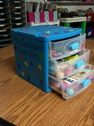 Cute prize box-one drawer for coupons, erasers/stickers, pencils