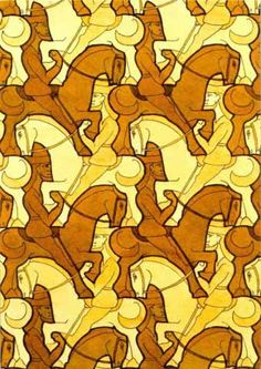 By MC Escher Do you see the white horses or the brown? Escher Tessellations, Tessellation Patterns, Escher Kunst, Mc Escher Art, Tesselations, Arte Tribal, Drawn Art, Math Art, Horses