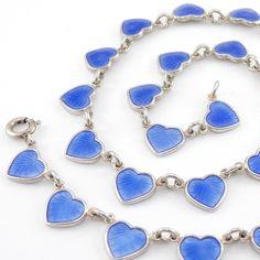 """Vintage Volmer Bahner Sterling Silver Modernist Blue Enamel Heart Necklace 15.5"""" #VolmerBahner"""