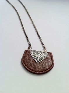 Necklace with Brown Leather pendant and by TheBohemianBasement, $20.00