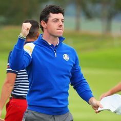 Rory McIlroy of Europe celebrates victory on the 14th hole during the singles matches of the 2014 Ryder Cup on the PGA Centenary course at the Gleneagles Hotel on September 28, 2014 in Auchterarder, Scotland.