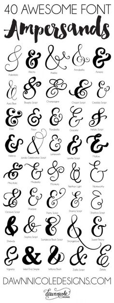 40 Awesome Font Ampersands | dawnnicoledesigns.com                                                                                                                                                                                 More