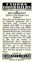 1967-68 Barratt & Co Famous Footballers (A15) #21 Ron Springett | Trading Card Database Queens Park Rangers Fc, Sheffield Wednesday, Trading Card Database, Goalkeeper, Peta, London England, Goaltender, Fo Porter, Maps