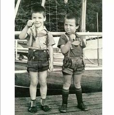 Till Lindemann on the left. Wearing the Lederhosen he would later lend to Paul Landers. Always had a thing about fish, Till. #rammstein Argentina Facebook page