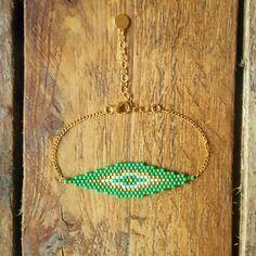 Br saona vert greenery plaqué or et perles miyuki cousues main