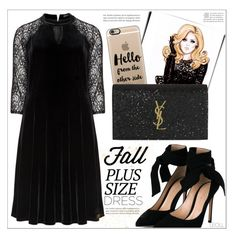 """""""Fall Look Plus Size Dresses: Hello, It's Me!"""" by leoll ❤ liked on Polyvore featuring Manon Baptiste, Gianvito Rossi, Casetify, Yves Saint Laurent and dress"""