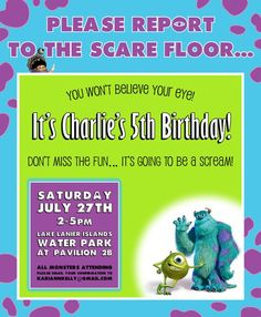 Personalized Monsters Inc party invitations on | http://partyideacollections.blogspot.com