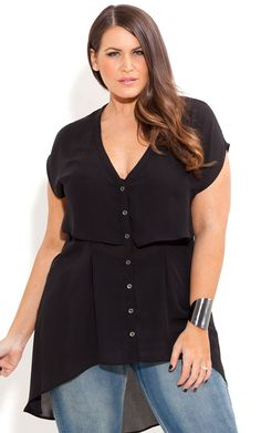 City Chic - CROPPED LAYERED SHIRT Big beautiful real women with curves fashion accept your body plus size body conscientiousness