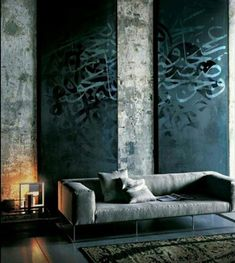 Persian caligraphy on the wall Faux finish