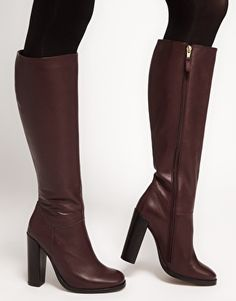 ASOS CINNAMON Leather Knee High Boots