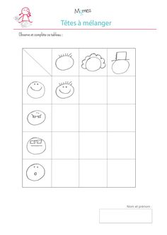 Tableau-a-double-entrees-les-tetes. Preschool Learning Activities, Preschool Worksheets, Preschool Activities, Crafts To Do, Language, Coding, Teaching, Education, Logos
